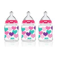 NUK Pink Heart Bottle with Perfect Fit Nipple 5-Ounce Slow Flow (3 Pack)