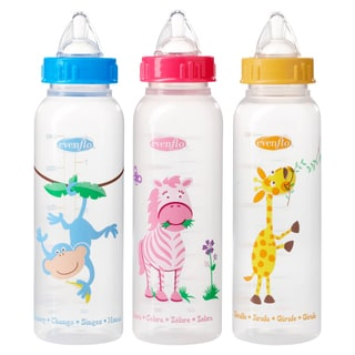 Evenflo Blue/Pink/Yellow Zoo Friends 8-ounce Bottle with Anatomic Nipple (3 Count)