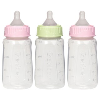 NUK Pink/Green Gerber First Essentials Clearview 5-ounce Slow Flow Silicone Bottle (3 Pack)