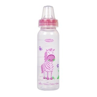 Evenflo Pink Zoo Friends 8-ounce Bottle with Standard Nipple