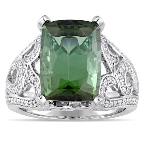 Miadora 14k White Gold Green Tourmaline and 5/8ct TDW Diamond Statement Ring