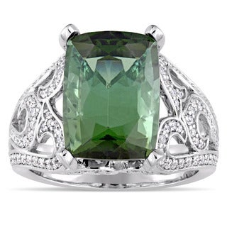 Miadora 14k White Gold Green Tourmaline and 5/8ct TDW Diamond Statement Ring