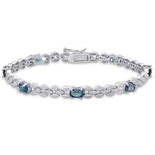 Dolce Giavonna Sterling Silver London Blue Topaz Bracelet