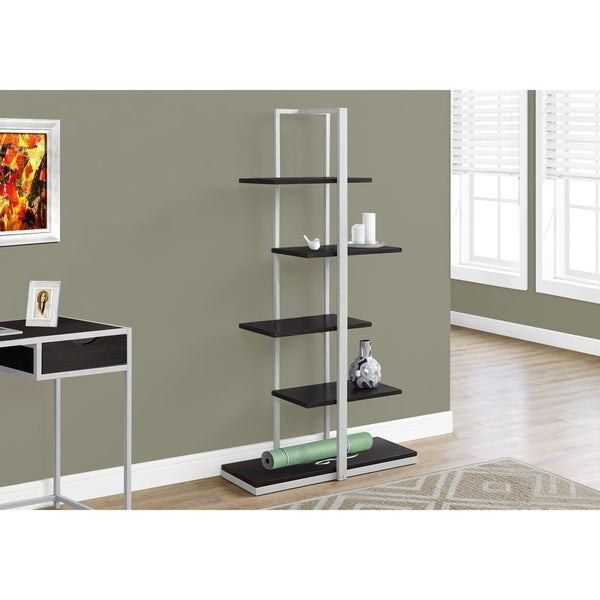 Shop Bookcase, Cappuccino/Silver Metal, 60-inch