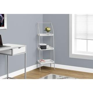 Bookcase, White/Silver Metal, 48-inch