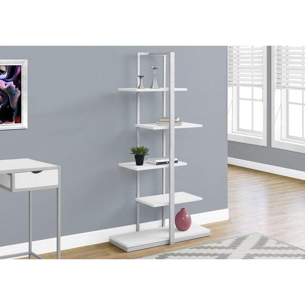Bookcase, White/Silver Metal, 60-inch