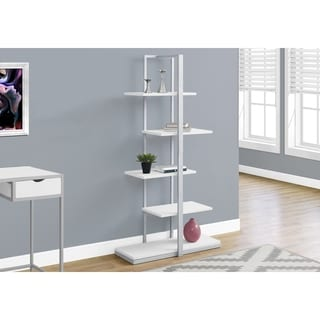 Bookcase, White/Silver Metal, 60-inch