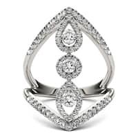 Charles & Colvard 14k White Gold 1ct DEW Forever Brilliant Moissanite Geometric Ring