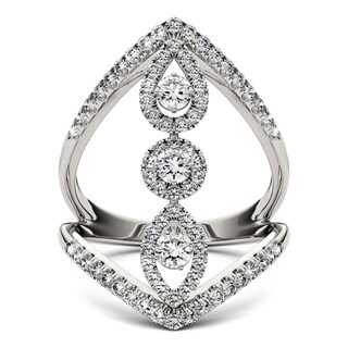 Charles & Colvard 14k White Gold 1ct DEW Forever Brilliant Moissanite Geometric Ring