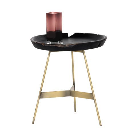 Montoya Gold Base and Black Tray Side Table