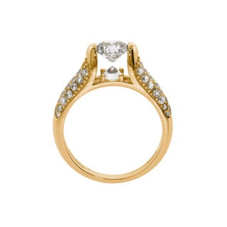 Eternally Haute 14K Yellow Gold Plated Pave Louvre Ring