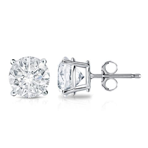 Auriya 2 carat TW Round Clarity-Enhanced Diamond Stud Earrings 18K Gold