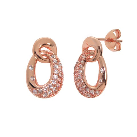 Eternally Haute 14k Rose Gold-plated Cubic Zirconia Pave Drop Earrings - Pink
