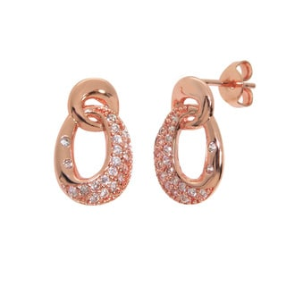 Eternally Haute 14k Rose Gold-plated Cubic Zirconia Pave Drop Earrings