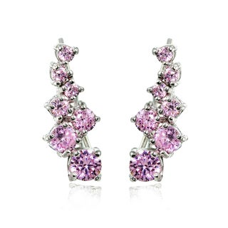 Sterling Silver Pink Cubic Zirconia Cluster Climbing Crawler Earrings