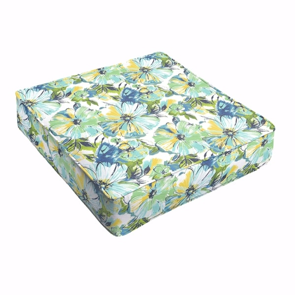 Shop Perryn Green Blue Floral Indoor Outdoor 22 5 Inch Square Corded Cushion Free Shipping
