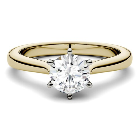 Charles & Colvard 14k Yellow Gold 1ct DEW Forever One Round Colorless Moissanite Solitaire Ring