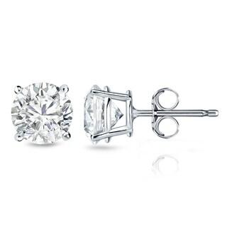 Auriya 18k Gold 1 1/2ct TDW 4-Prong Push-Back Clarity-Enhanced Diamond Stud Earrings (G-H, I2-I3)