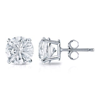 Auriya 18k Gold 1 1/2ct TDW 4-Prong Push-Back Clarity-Enhanced Diamond Stud Earrings (G-H, I1-I2)