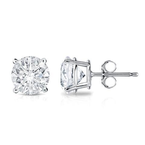 18k Gold 1 1/2ct TW Clarity Enhanced Round Diamond Stud Earrings