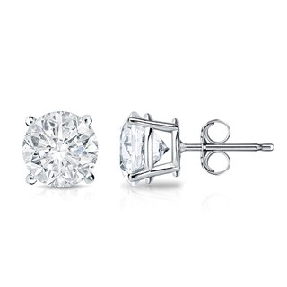 Auriya 18k Gold 1 1/2ct TDW Clarity-Enhanced Round Diamond Stud Earrings