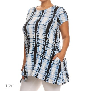 Women's Rayon and Spandex Plus-size Tie-dye Patterned Tunic