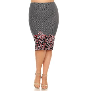Women's Plus Size Abstract Vines Pencil Skirt