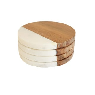 Caravan Marble and Wood Round Coasters (Pack of 4)