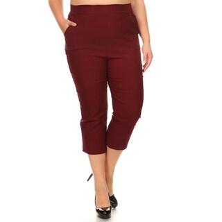 Women's Plus-size Wine-color Cropped Pants