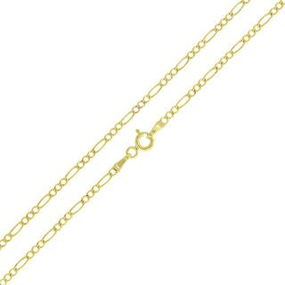 Unisex 14k Yellow Gold 2-millimeter Solid Figaro Link Necklace Chain