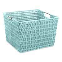 Whitmor Rattique Blue Rattan Storage Tote