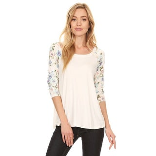 Women's Solid Raglan Tunic With Floral Pattern Sleeves (Option: L)