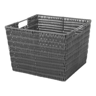 Whitmor Rattique Grey Rattan Storage Tote Basket