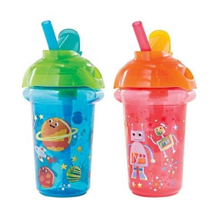Munchkin Click Lock Flip Straw Space Decorated Plastic 9-ounce Cup (2 Pack)