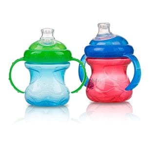 Nuby Red/Blue No-Spill Grip N' Sip 8-ounce Cup (Set of 2)