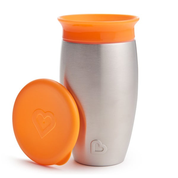 Munchkin Orange 10-ounce Miracle 360 Stainless Steel Sippy Cup