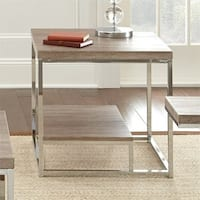 LYKE Home Brown Wood Contemporary End Table