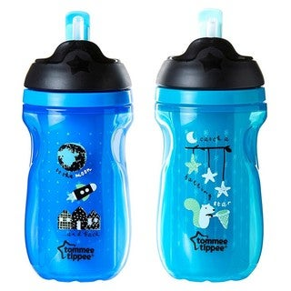 Tommee Tippee Blue/Blue 9-ounce Insulated Straw Tumbler (2 Count)
