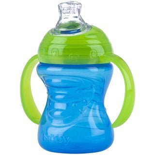 Nuby Blue and Green 8-ounce 2-Handle Cup with No-Spill Super Spout