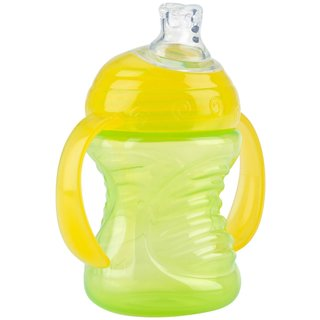 Nuby Green/Yellow 2-Handle 8-ounce Cup with No-Spill Super Spout