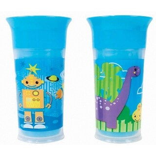 Sassy Dinosaur/Robot Blue 9-ounce 360-degree No-spill Insulated Grow-up Cup (Set of 2)