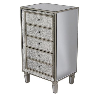 Heather Ann Creations Eleganza Series Champagne-colored Wood Formal Mirror-trimmed Tall 5-drawer Cabinet