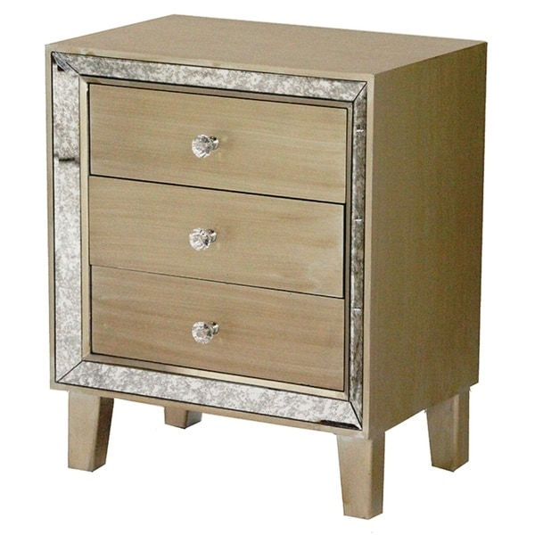 Heather Ann Creations Bon Marche Series Champagne Wood 3 Drawer Square Cabinet