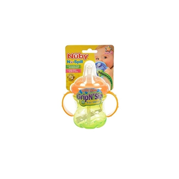 Nuby Green/Orange No Spill Grip N' Sip 8-ounce Cup