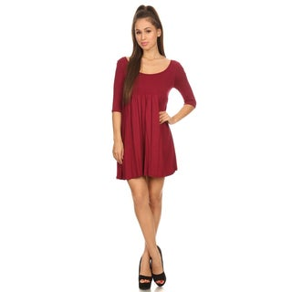 Women's Rayon Solid Long-sleeve Shift Dress
