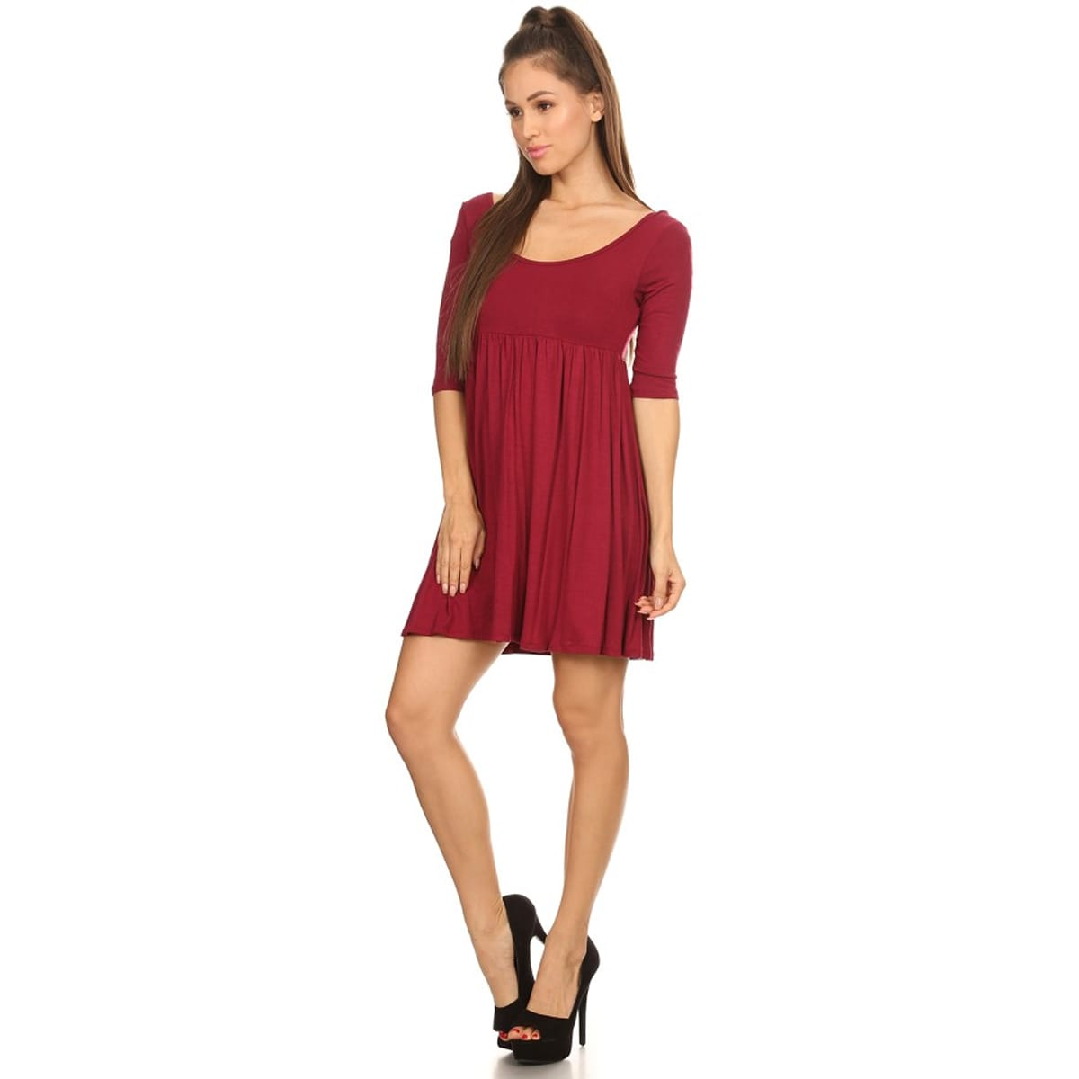 a203b0eb3f Women s Rayon Solid Long-sleeve Shift Dress