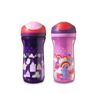 Tommee Tippee Pink and Purple Explora Non-Spill 9-ounce Insulated Drinking Cup (Set of 2)