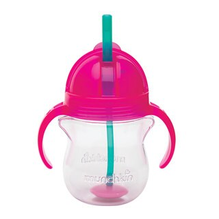 Munchkin Pink Click Lock Weighted 7-ounce Straw Cup