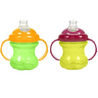 Nuby Grip N' Sip Green/Yellow 8-ounce No-Spill Cup (Set of 2)
