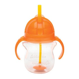 Munchkin Orange Plastic 7-ounce Click Lock Weighted Straw Cup